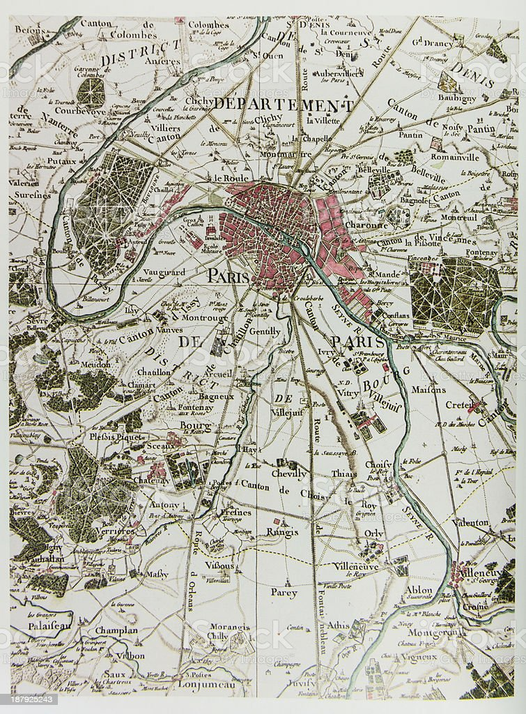 Historical map of Paris stock photo