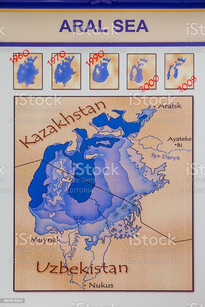 Historical map of the Aral Sea stock photo