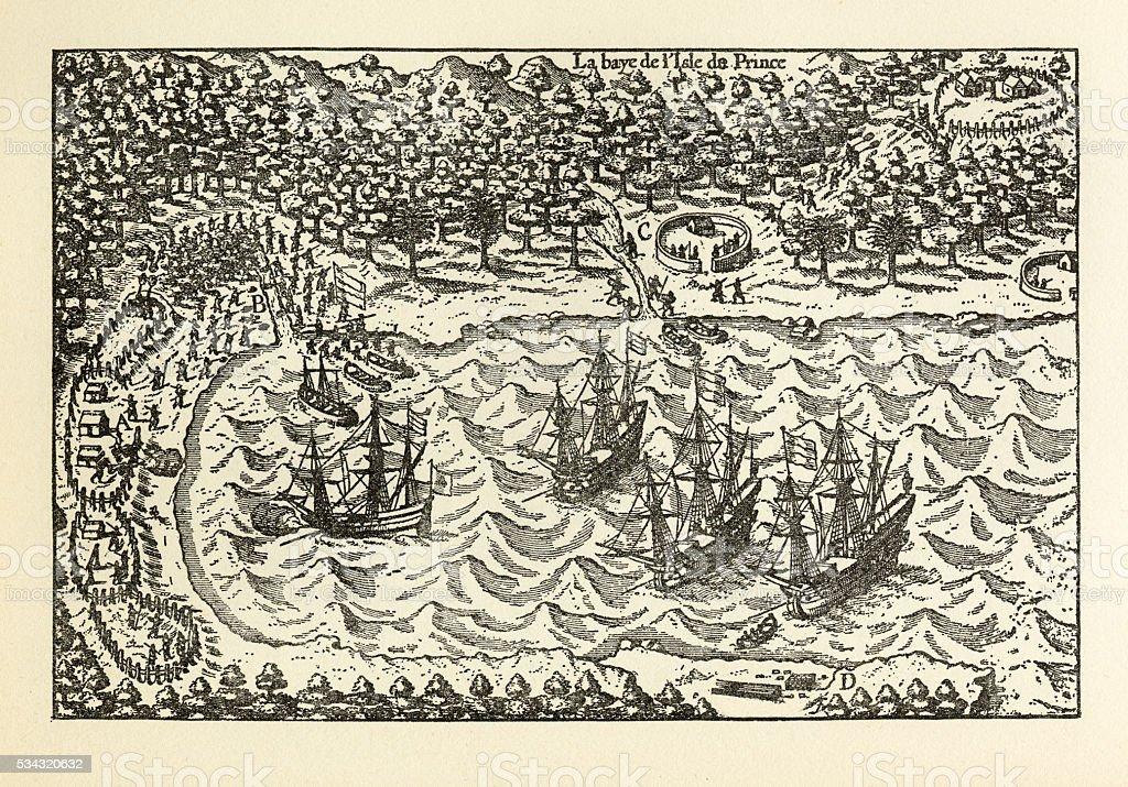 Historical Map of Van Noort at the Island of Principe, 1599 stock photo
