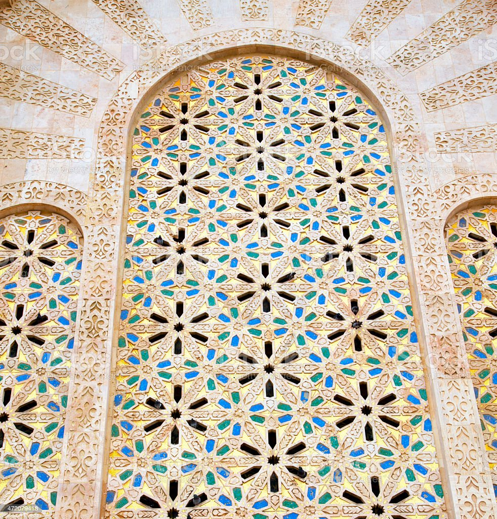 historical marble  in  antique building door morocco      style stock photo