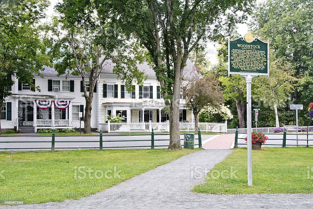 Historical marker on Woodstock town green, Vermont stock photo