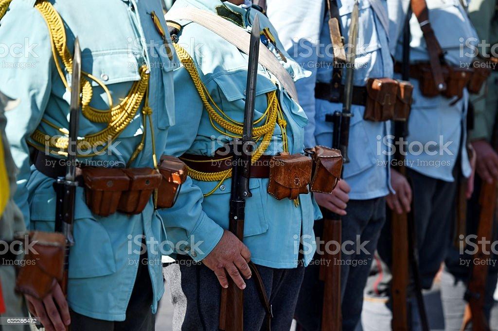 Historical military reenactment stock photo
