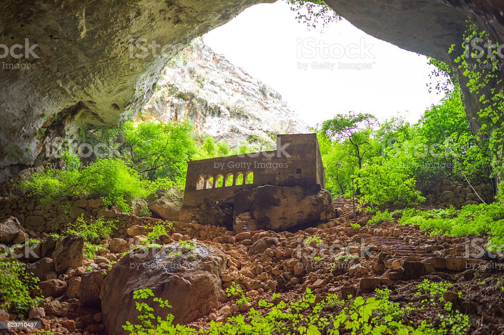 historical monastery at heaven sinkhole cave of mersin turkey stock photo