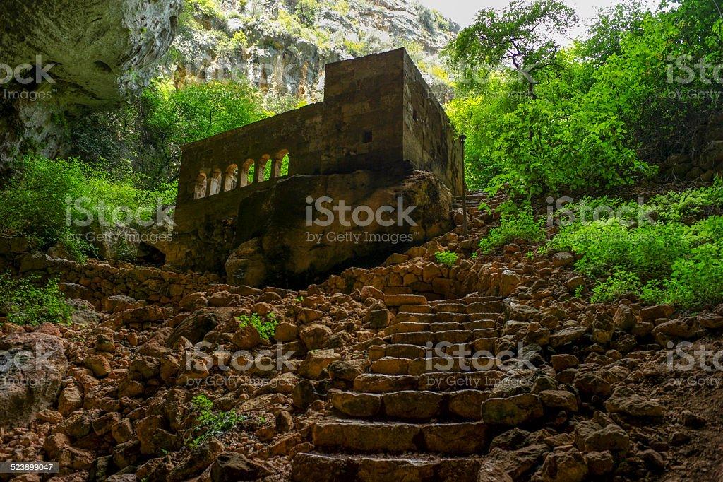 historical monastery at heaven sinkhole of mersin turkey stock photo