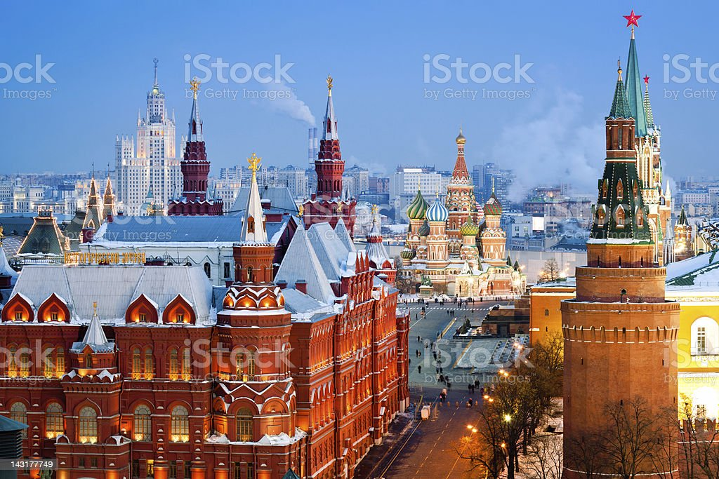 Historical Museum, St.Basil Cathedral, Red Square, Kremlin in Moscow stock photo