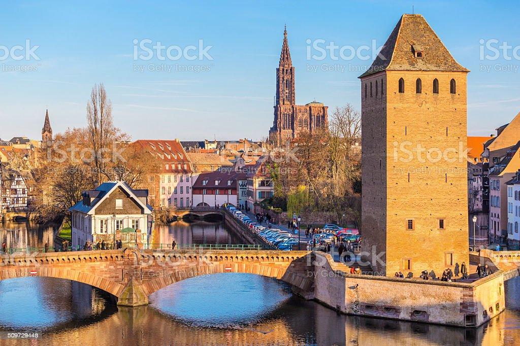 Historical old Bridge in Petit France area of Strasbourg, Alsace stock photo
