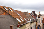Historical old building roofs at street of ghent belgium