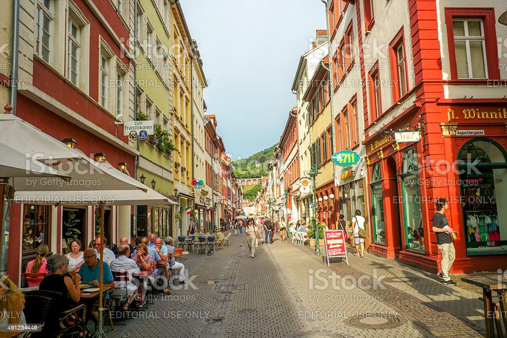 historical old buildings at highstreet of heidelberg germany stock photo