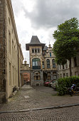 Historical old buildings at street of ghent belgium