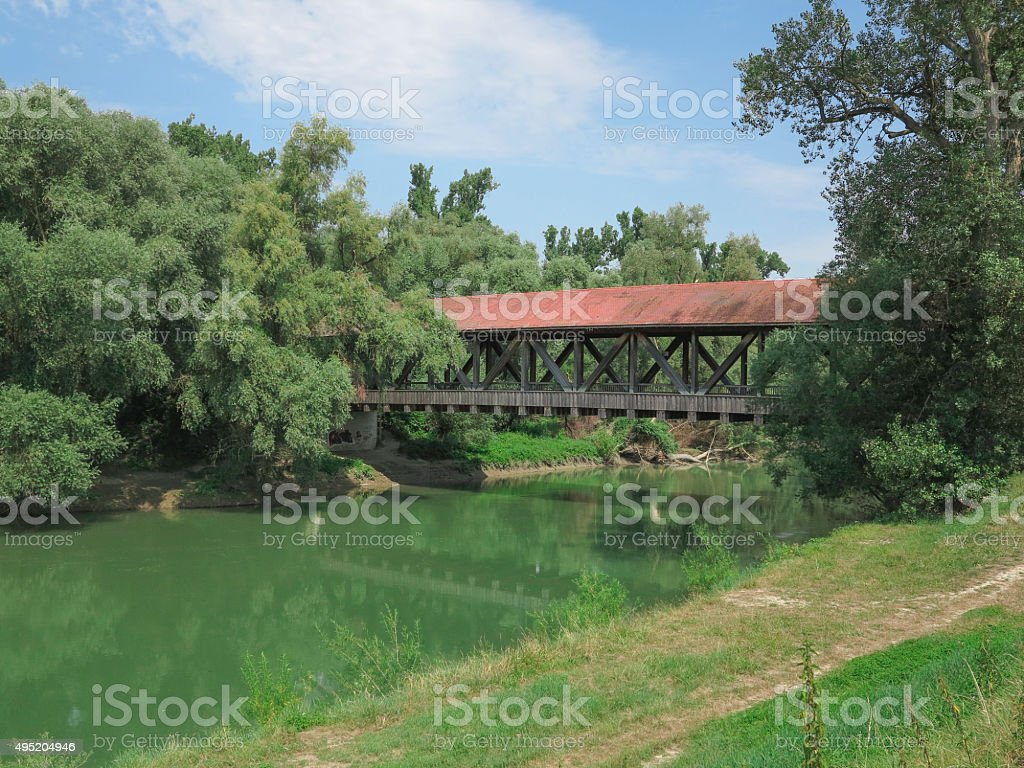Historical old wooden bridge at speyer countryside germany stock photo