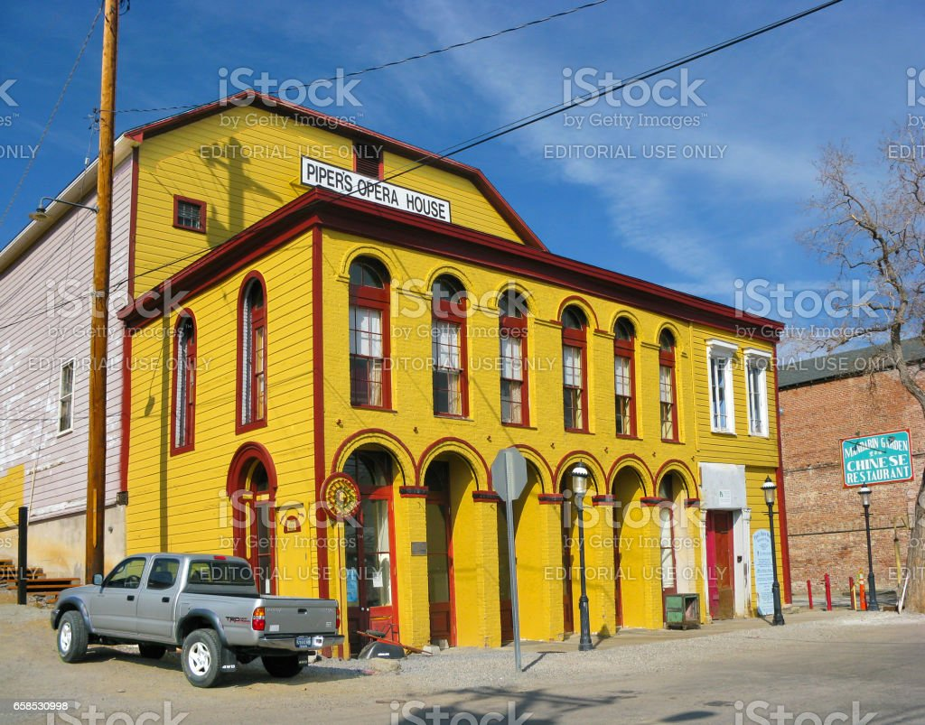 Historical Opera House building in Virginia City, United States stock photo