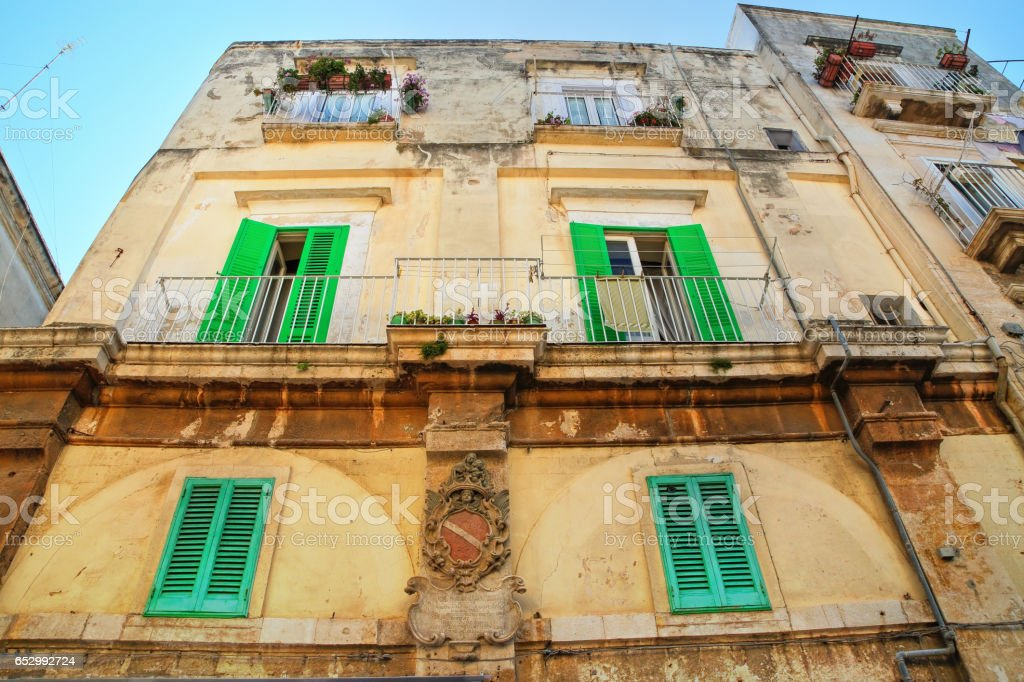 Historical palace. Molfetta. Puglia. Italy. stock photo