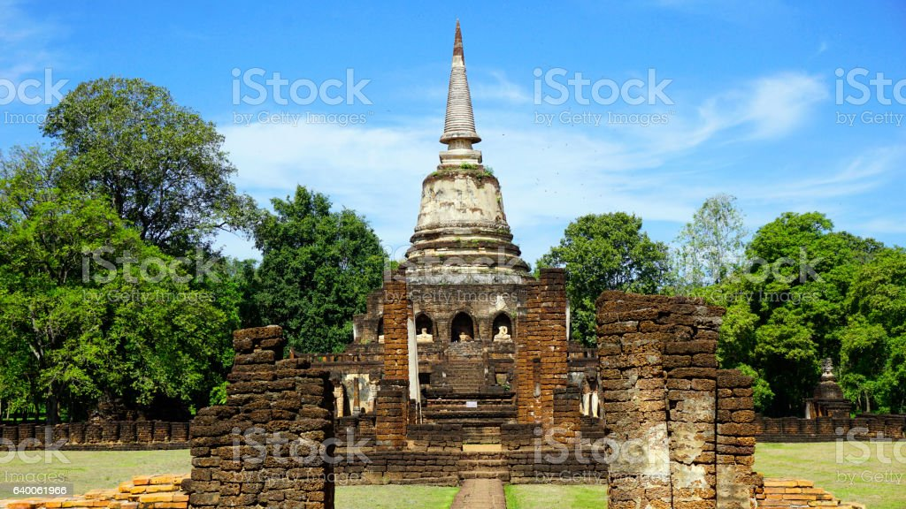 Historical Park Wat chang lom temple center main approach stock photo