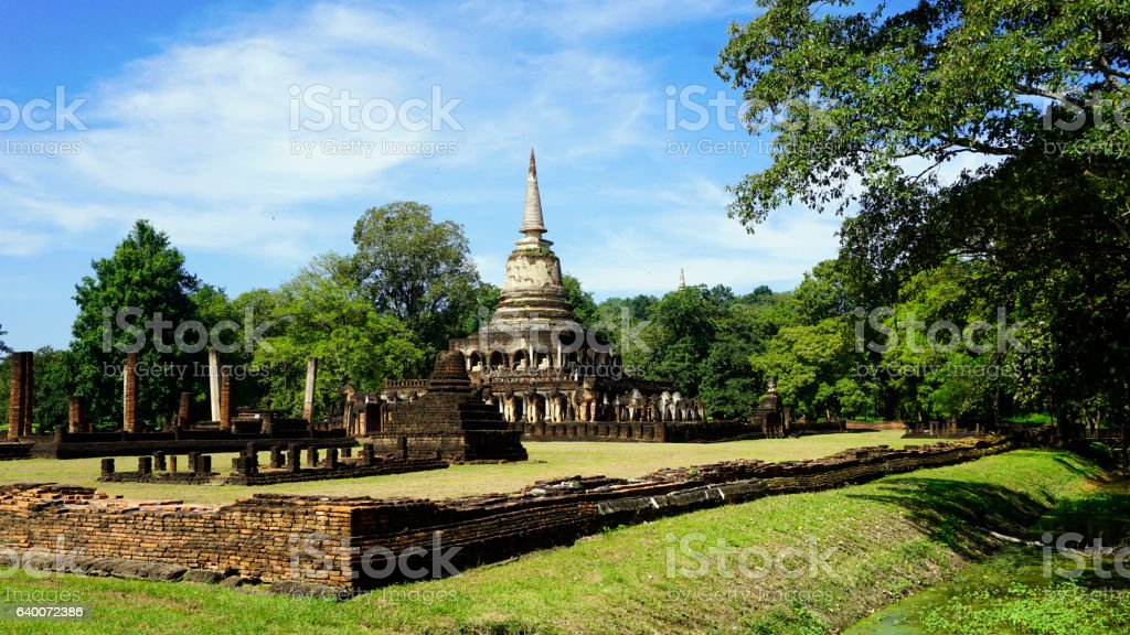 Historical Park Wat chang lom temple landscape stock photo