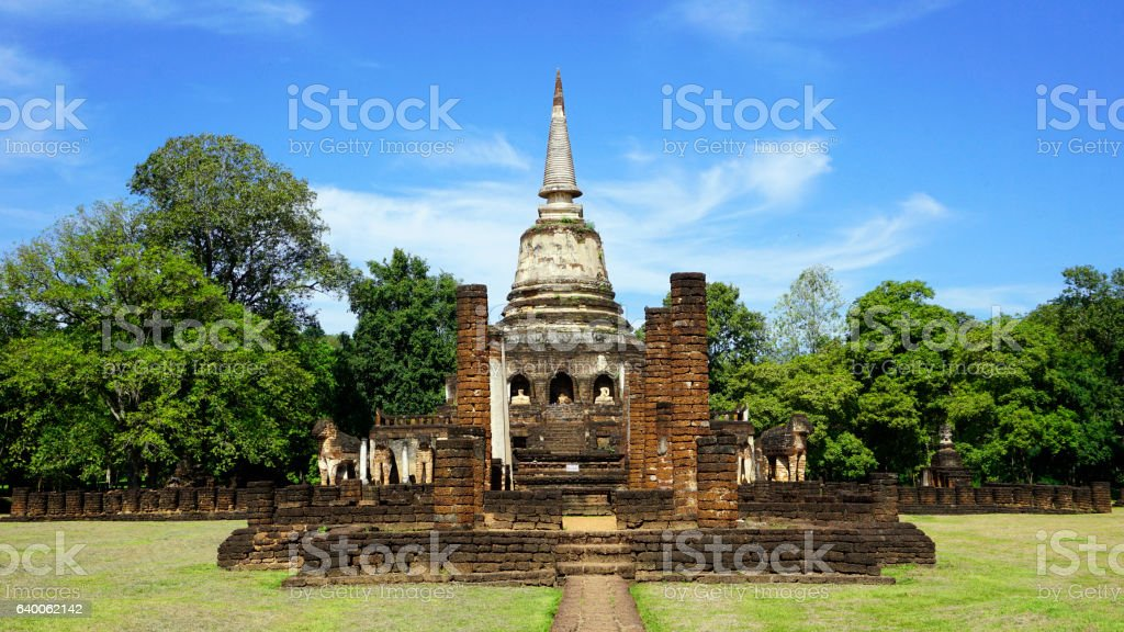 Historical Park Wat chang lom temple main approach in Sukhothai stock photo