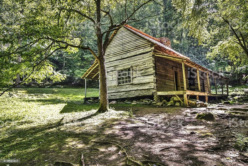 Historical Pioneer Cabin In The Great Smoky Mountains stock photo