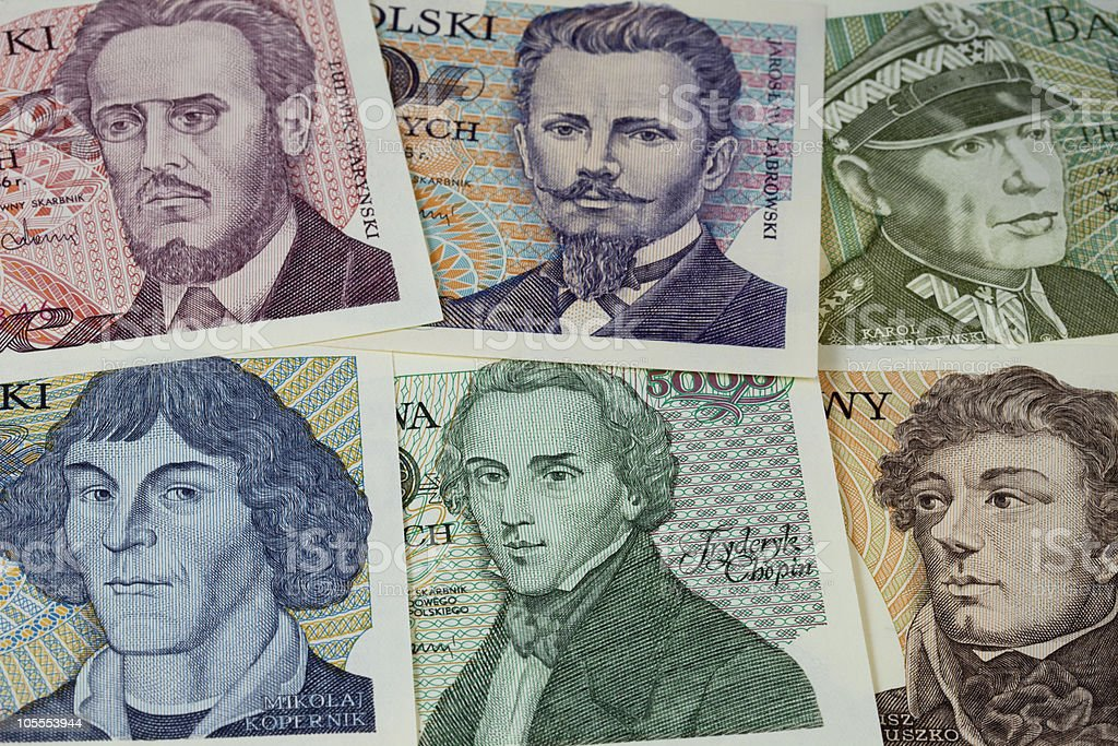 historical portraits on Polish banknotes stock photo