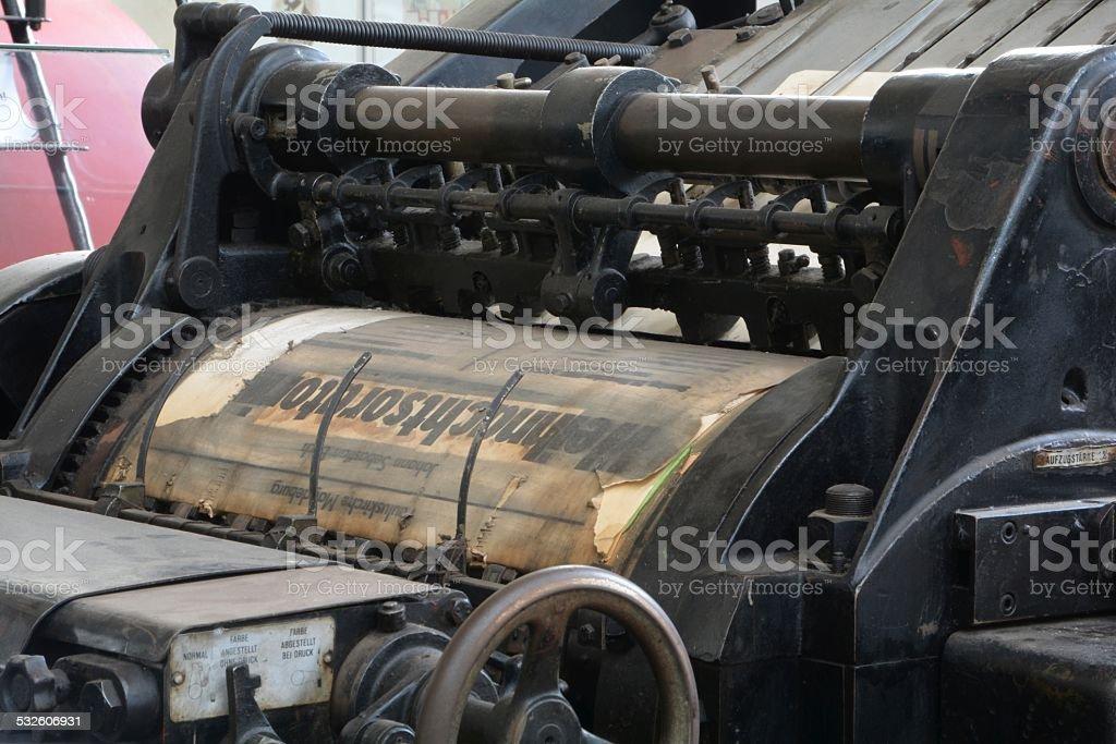 historical printing press stock photo
