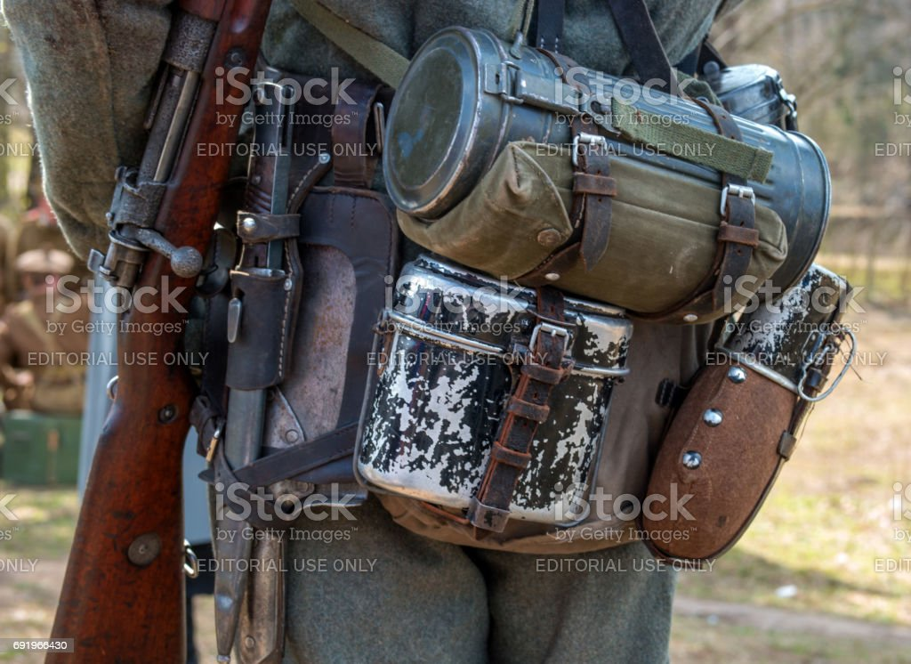 Historical reconstruction of the battles of World War II. Ammunition of the ordinary German army. stock photo