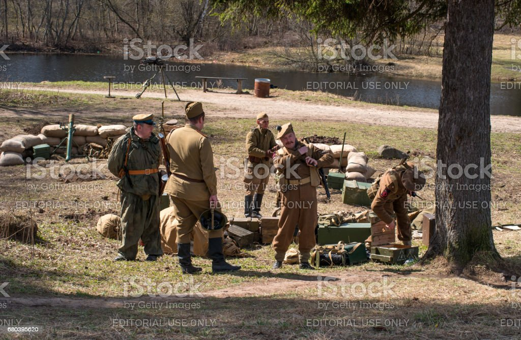 Historical reconstruction of the battles of World War II. Mortar battery. stock photo