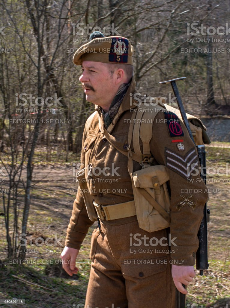 Historical reconstruction of the battles of World War II. Participant reconstruction in the form of a Scottish artilleryman. stock photo