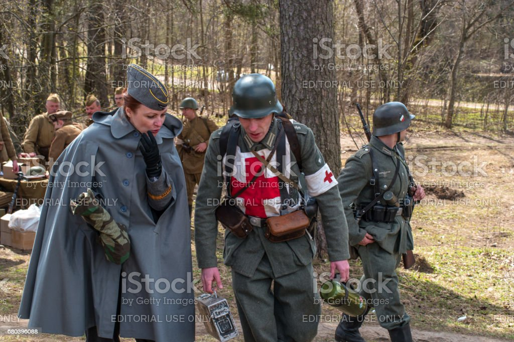 Historical reconstruction of the battles of World War II. Participants in the reconstruction. stock photo