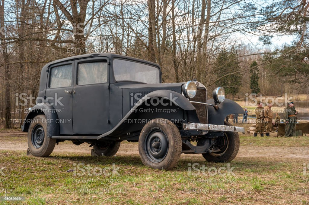 Historical reconstruction of the battles of World War II. Passenger car Mercedes Benz in the service of the German army. stock photo