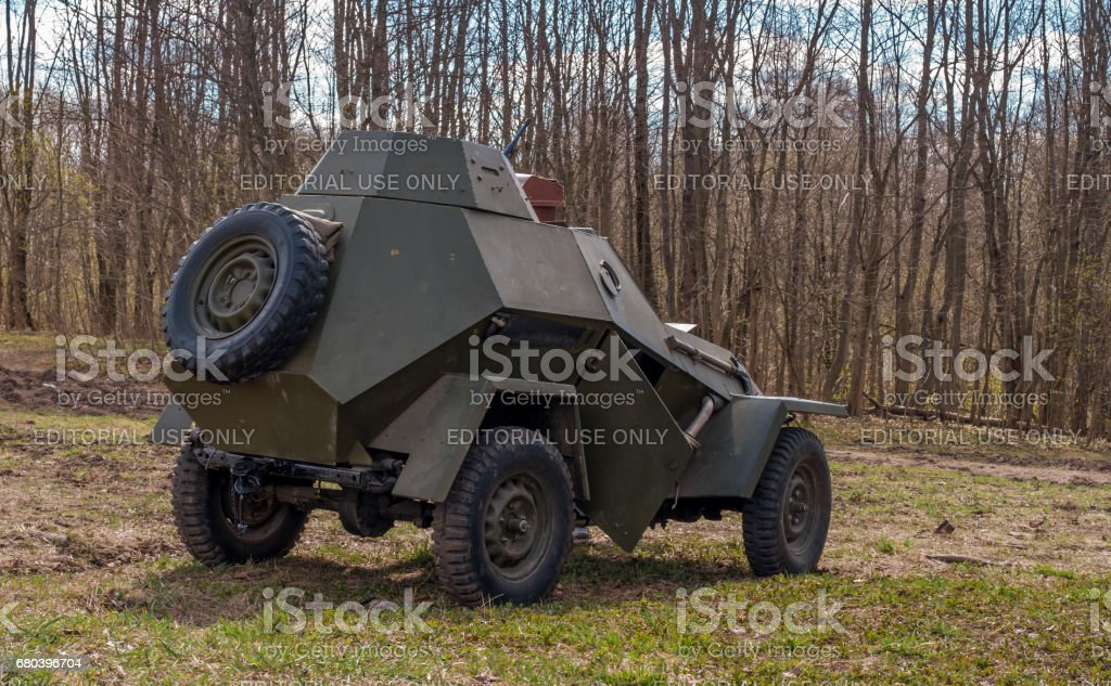 Historical reconstruction of the battles of World War II. Soviet armored car. stock photo
