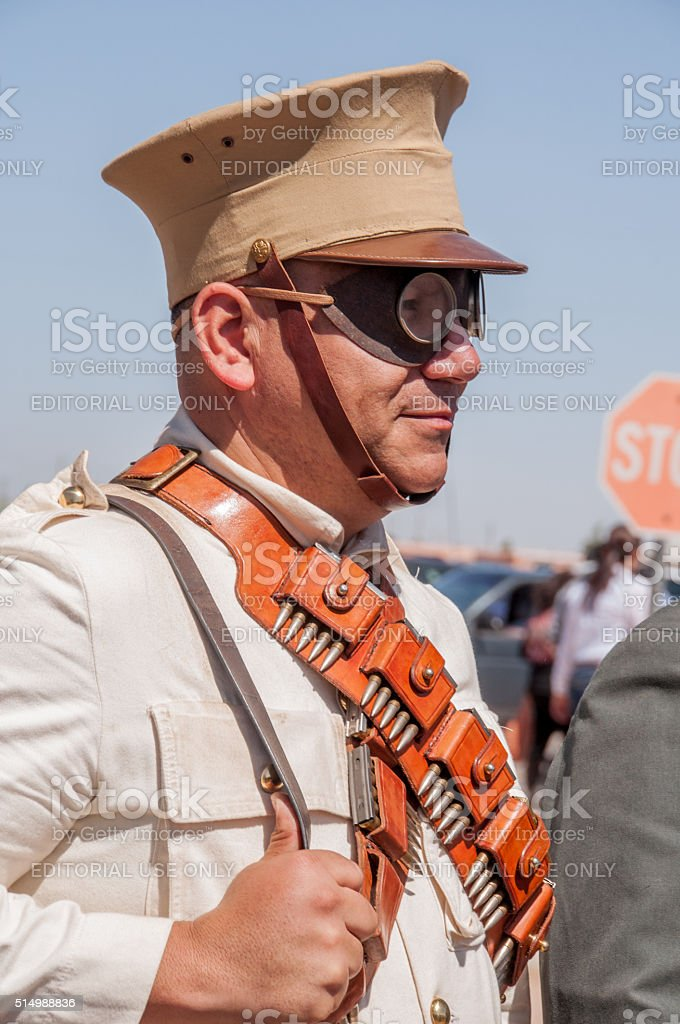 Historical Reenactor at Columbus, New Mexico stock photo