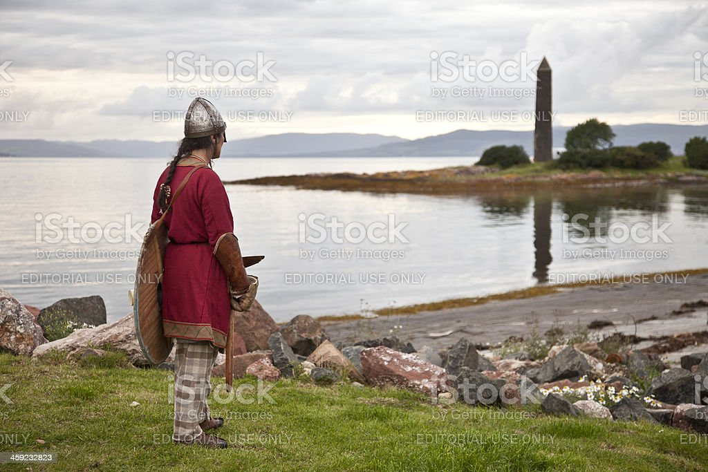 Historical Re-enactor preparing for the Battle of Largs stock photo