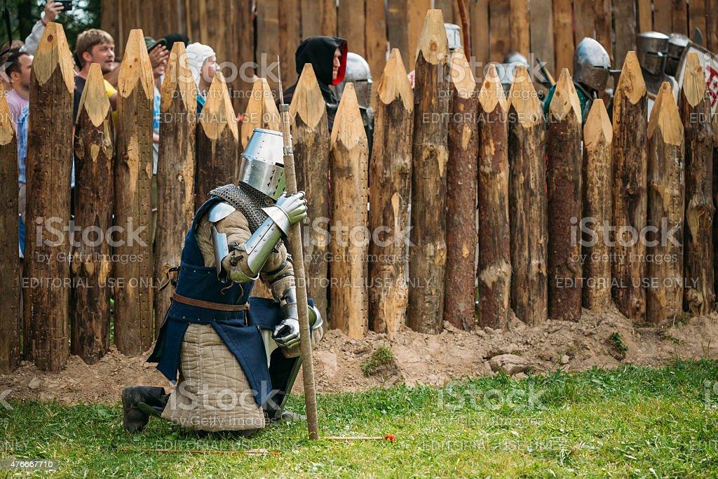 Historical restoration of knightly fights on festival of medieva stock photo