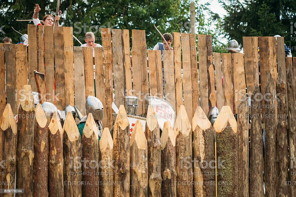 Historical restoration of knightly fights on festival of medieval stock photo