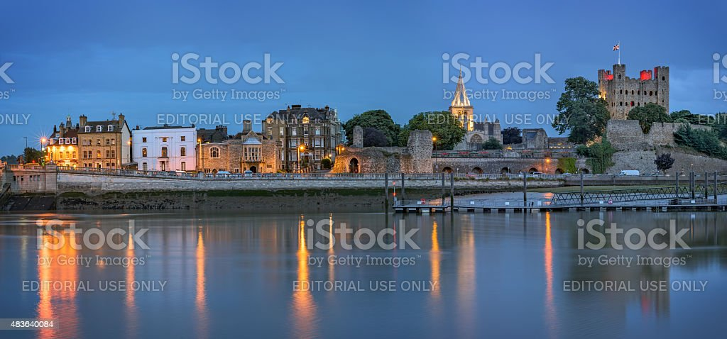 Historical Rochester at dusk stock photo