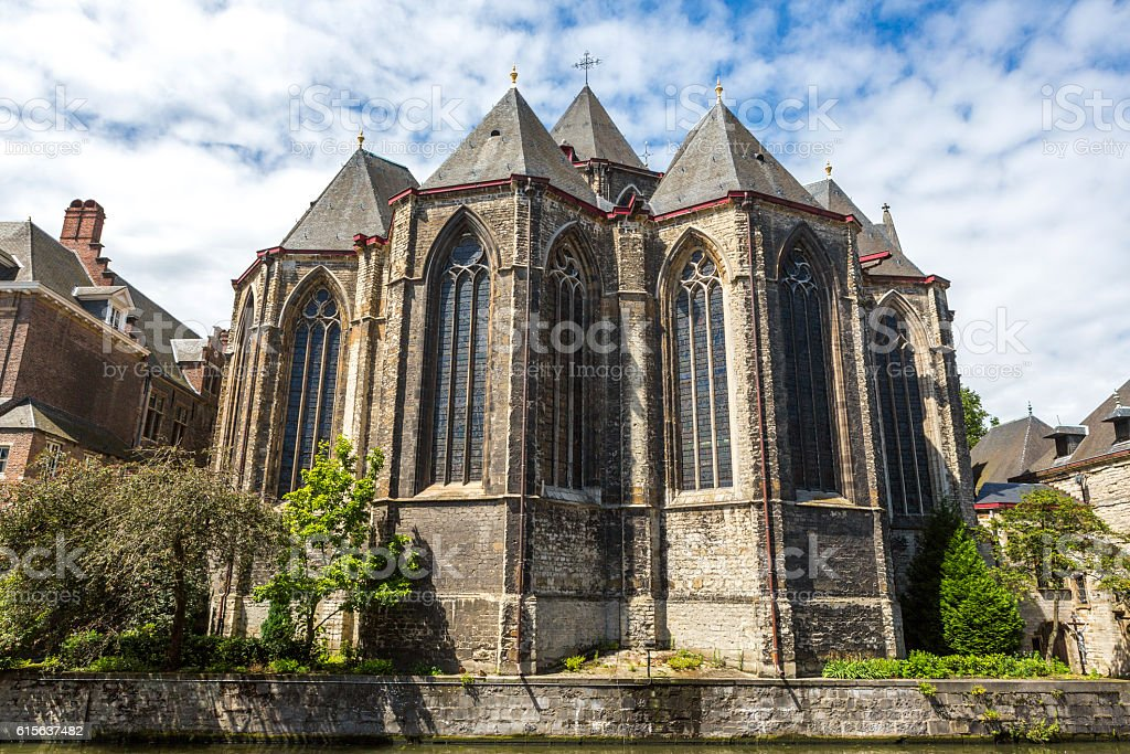 historical saint michael church at oldtown ghent belgium stock photo
