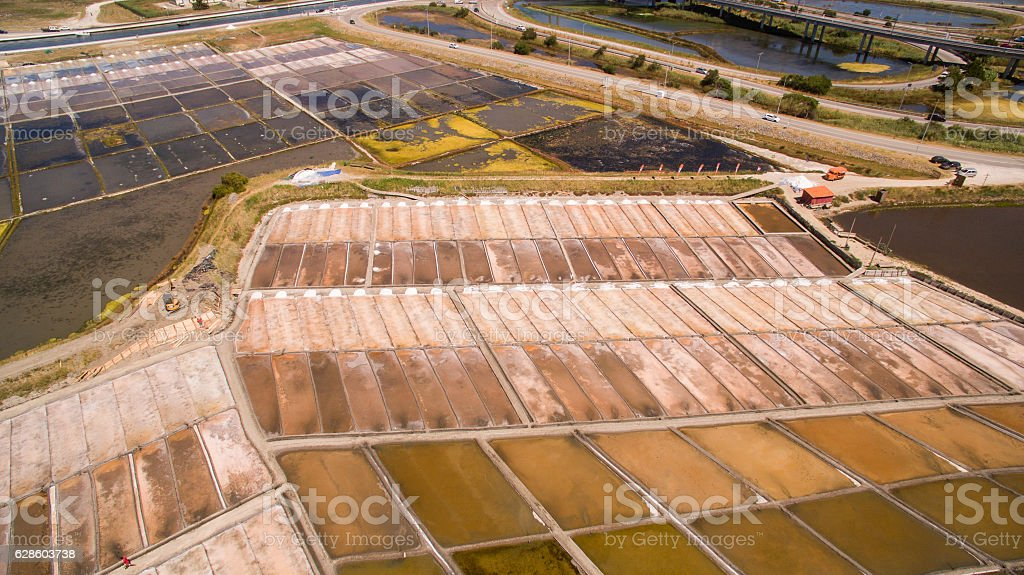 Historical salt pans in Aveiro, aerial view stock photo