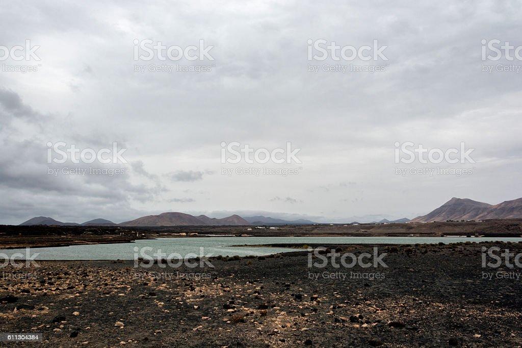 Historical Sea Salt Pans Lanzarote stock photo