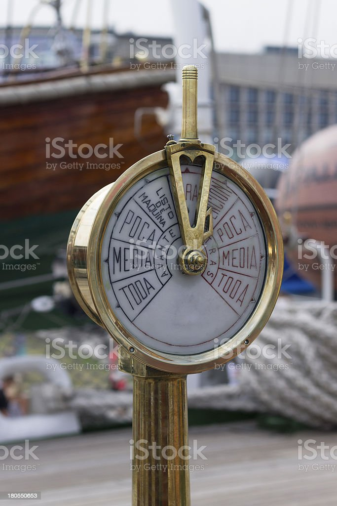 Historical speedometer on the old ship royalty-free stock photo