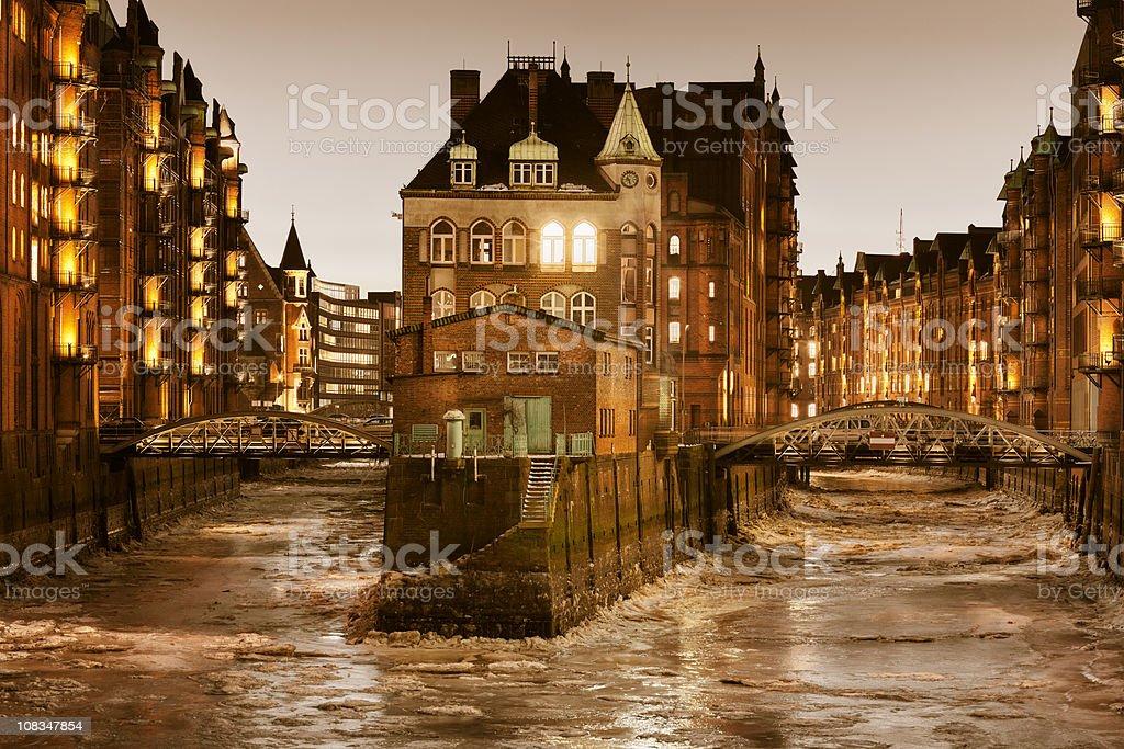Historical Speicherstadt - Hamburg / Wasserschloesschen stock photo