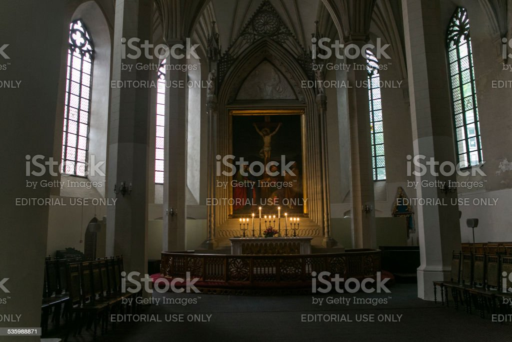 Historical St Olaf's church Oleviste kirik  oldtown of tallinn estonia stock photo