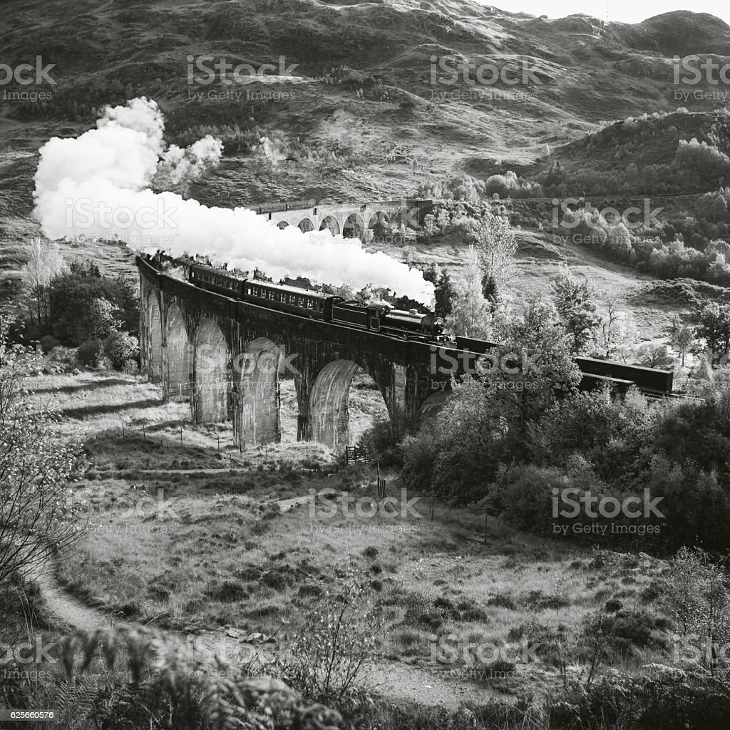 Historical Steam Train is crossing a Viaduct stock photo