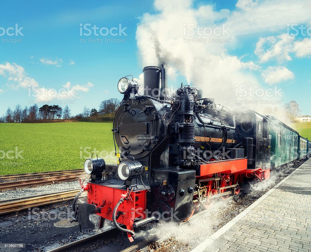 Historical steam train on island Rugen in Germany stock photo