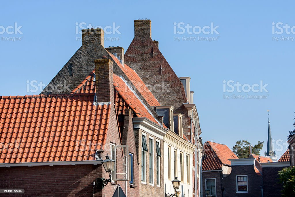 Historical street in Brielle stock photo