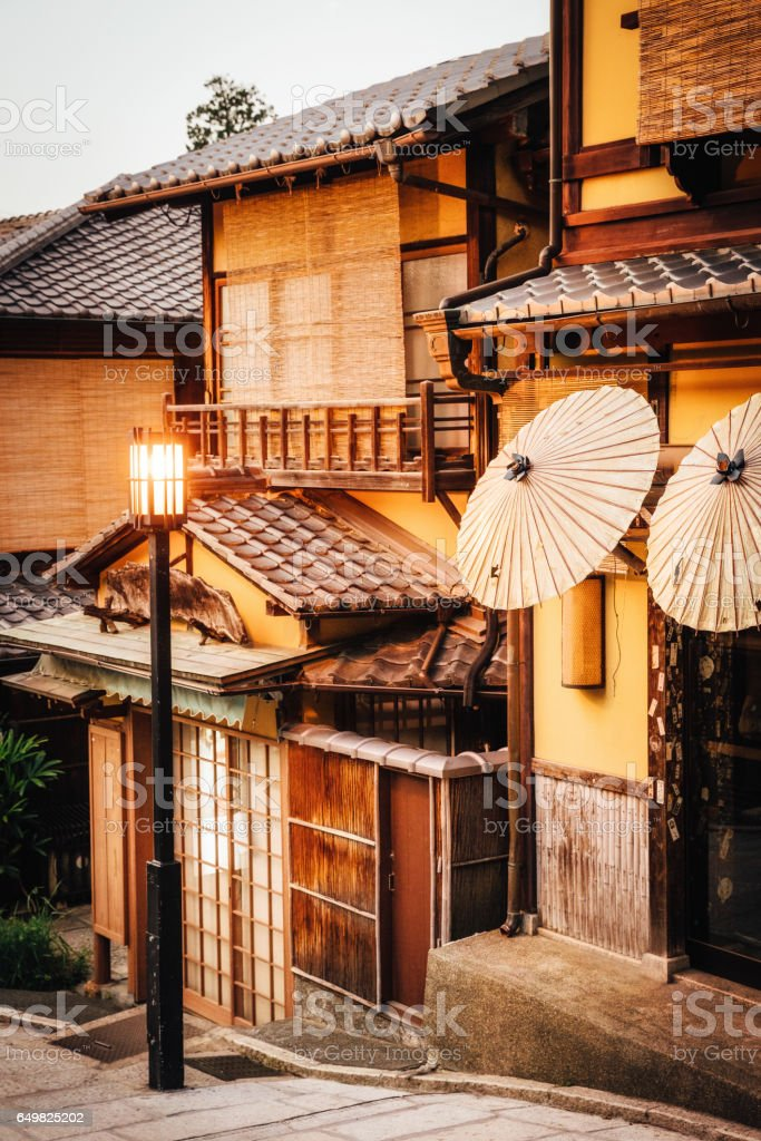 Historical Street in Gion district,  Kyoto, Japan stock photo