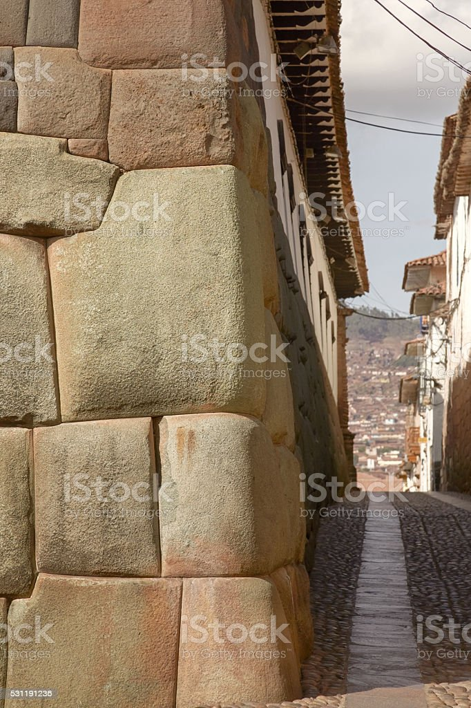 Historical street of Cuzco in Peru stock photo