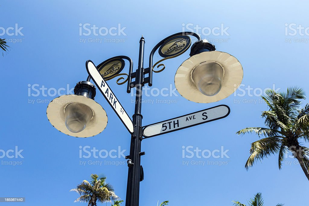 historical street sign in Naples, Florida stock photo