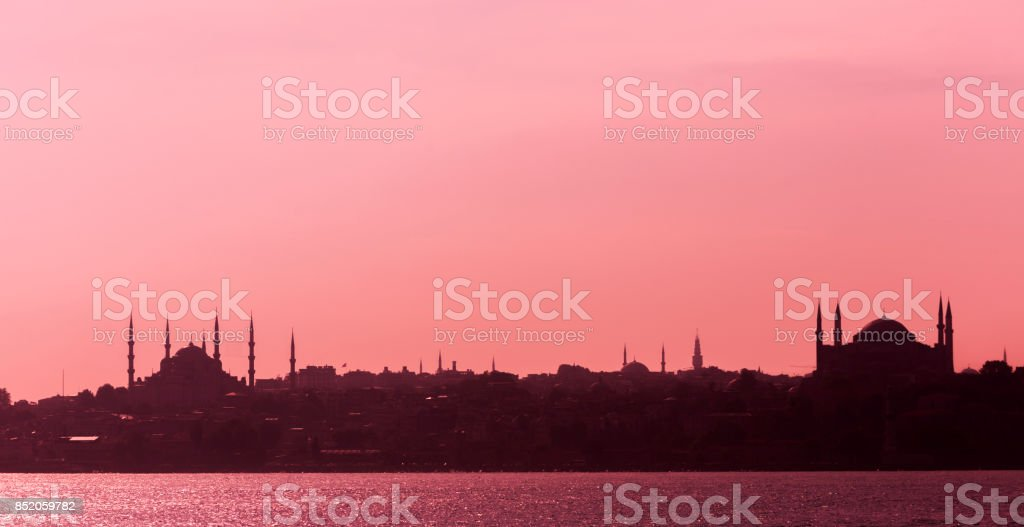 historical sultanahmet blue mosque and hagia sophia church monument by bosphorus in istanbul turkey stock photo