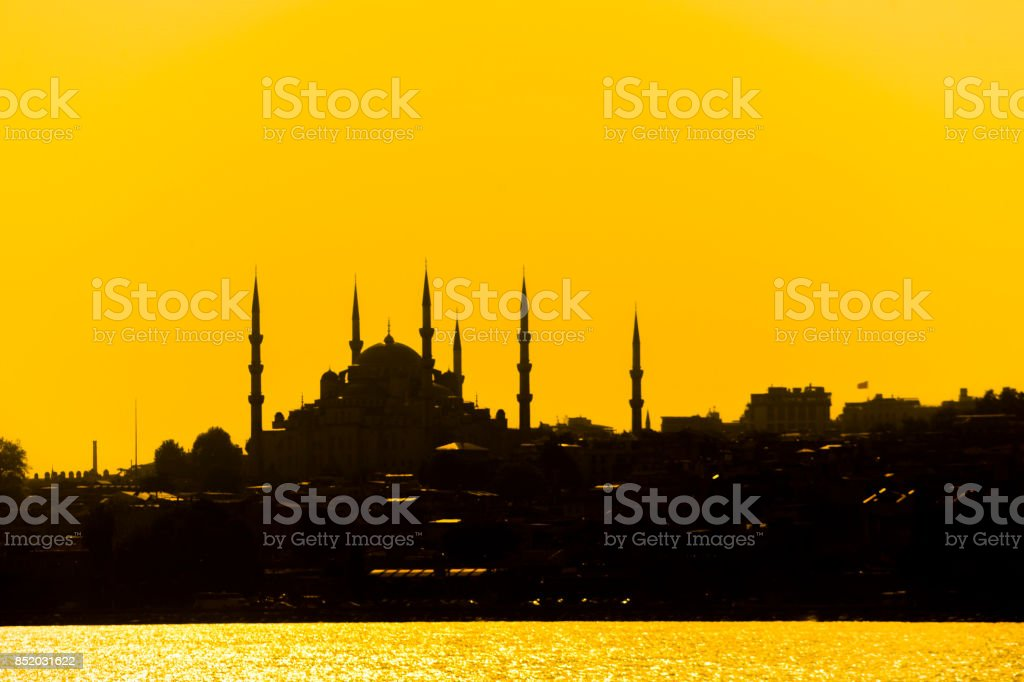 historical sultanahmet blue mosque monument silhouette by bosphorus in istanbul turkey stock photo