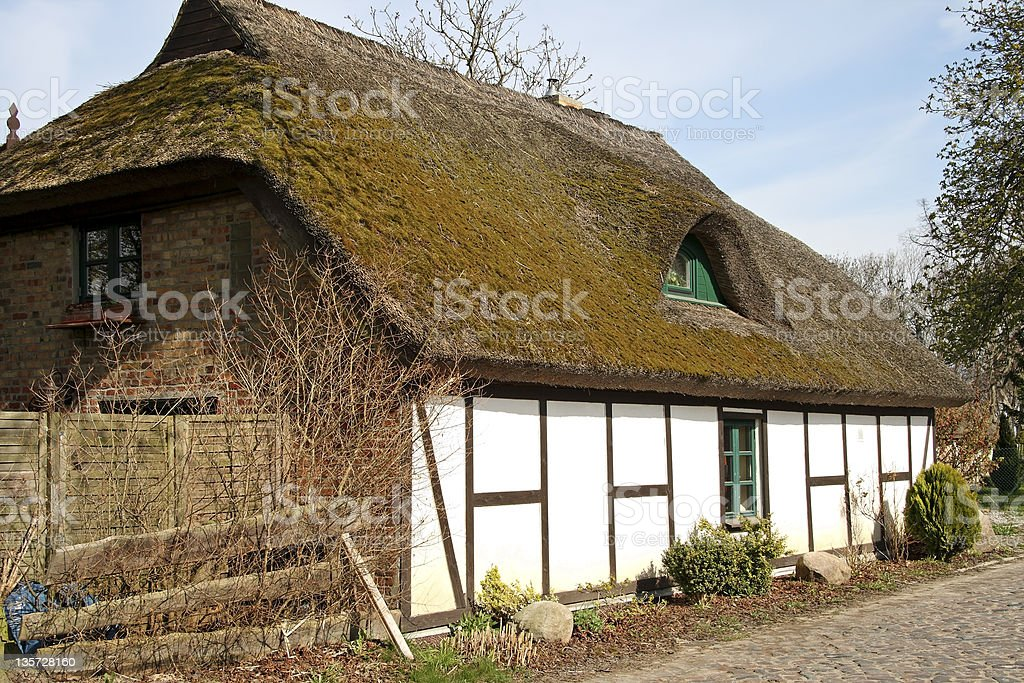 Historical Thatched Roof Cottage stock photo