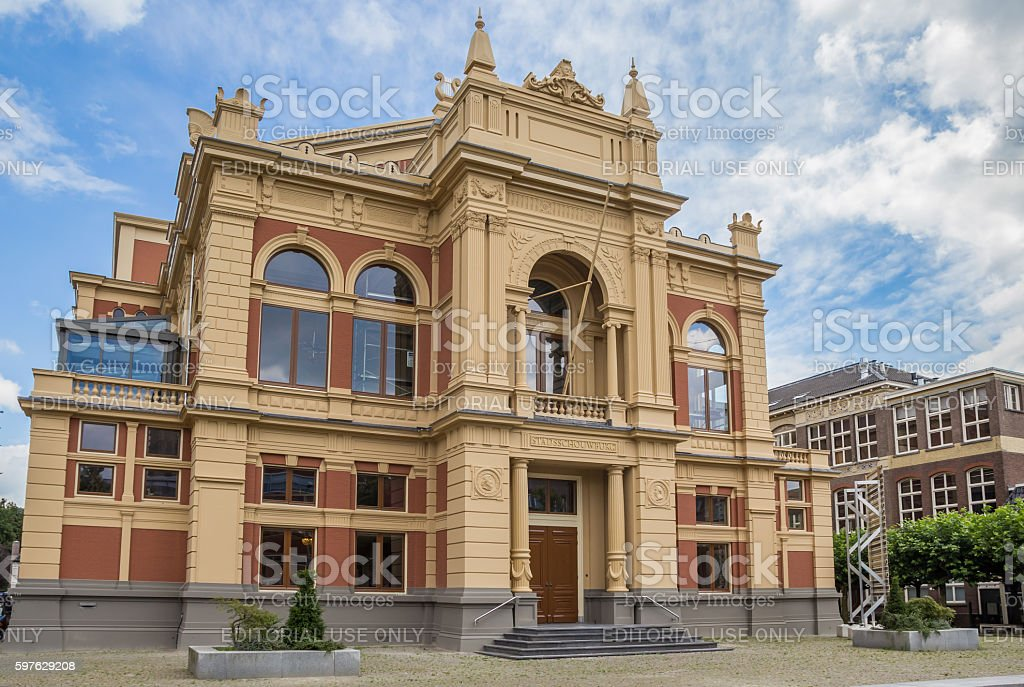 Historical theater building in the center of Groningen stock photo