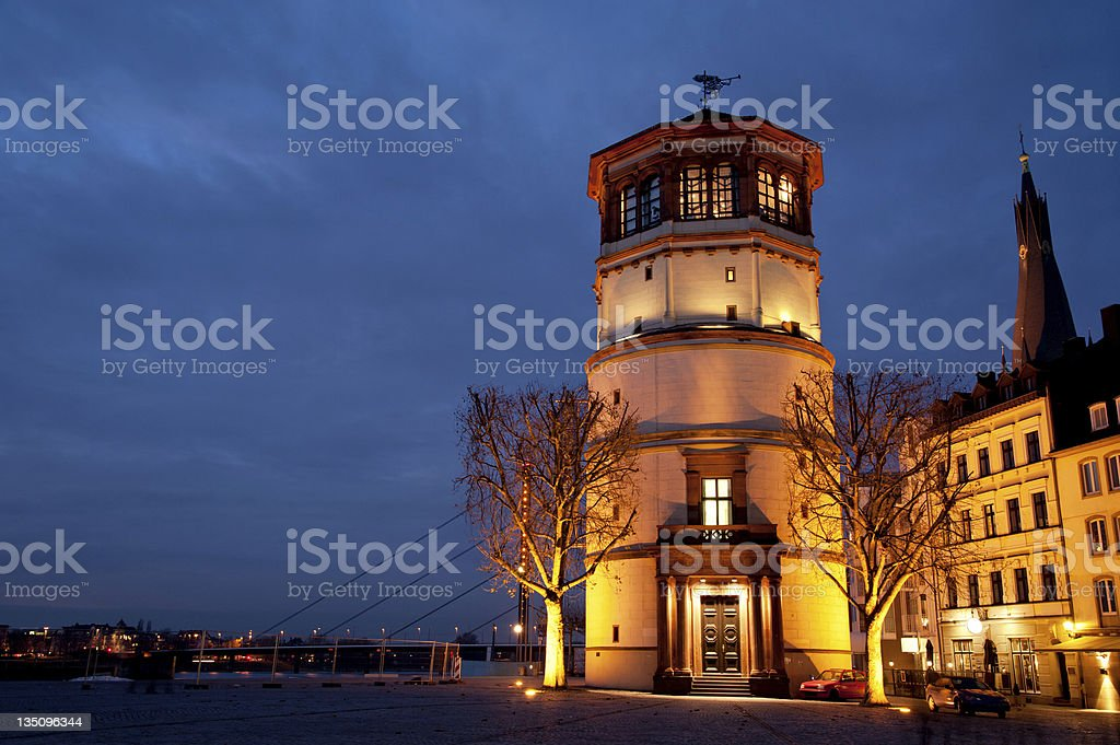 Historical town center in Dusseldorf, Germany at night royalty-free stock photo